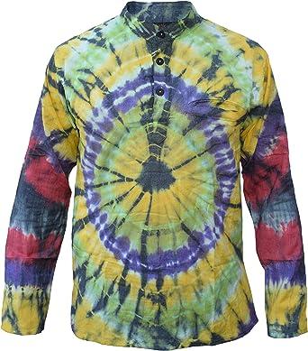 Little Kathmandu - Camisa de estilo hippie, algodón, teñida, estilo casual: Amazon.es: Ropa y accesorios