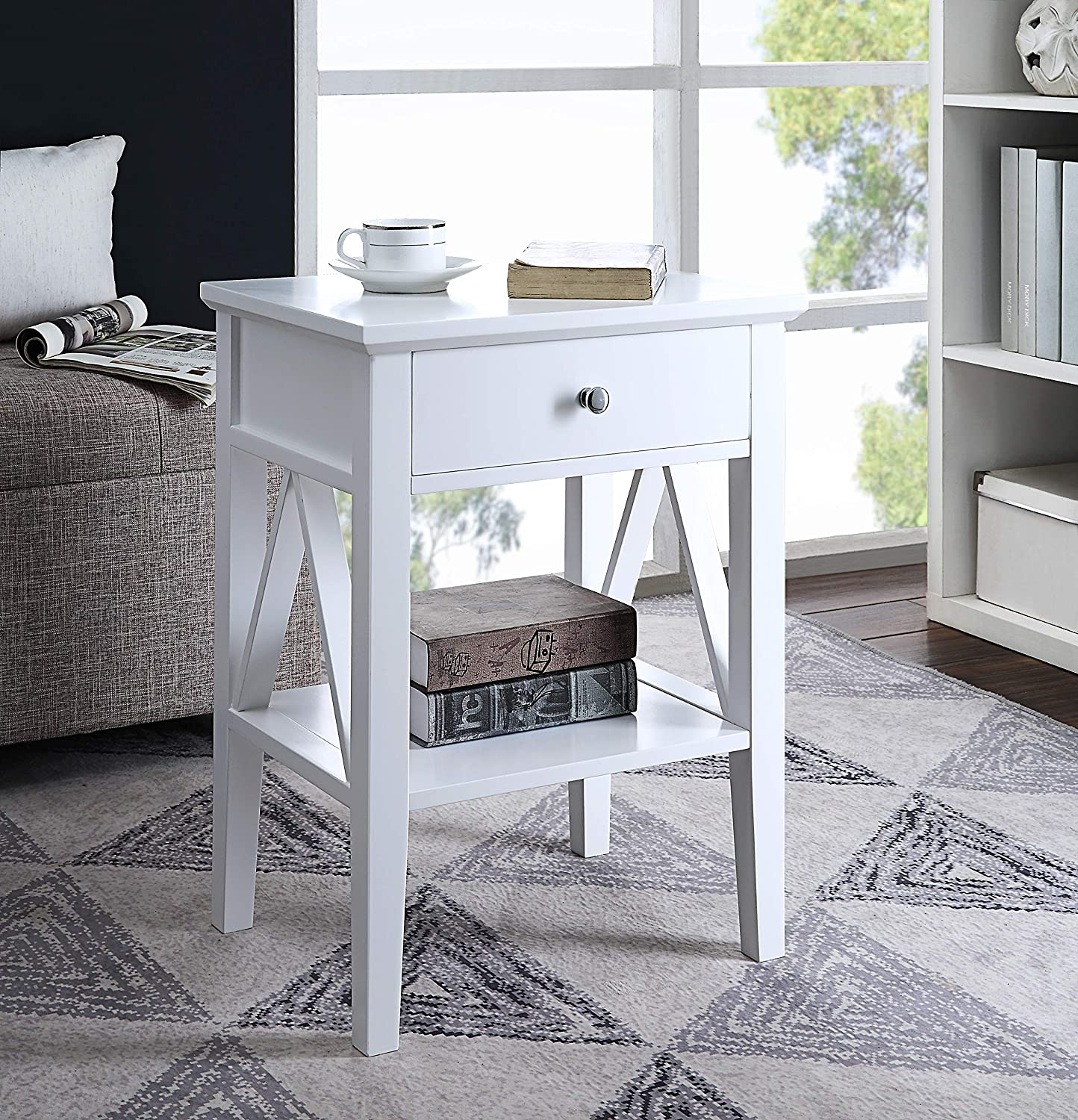 RAAMZO White Finish Nightstand Side End Table with Drawer and A-Design Sides