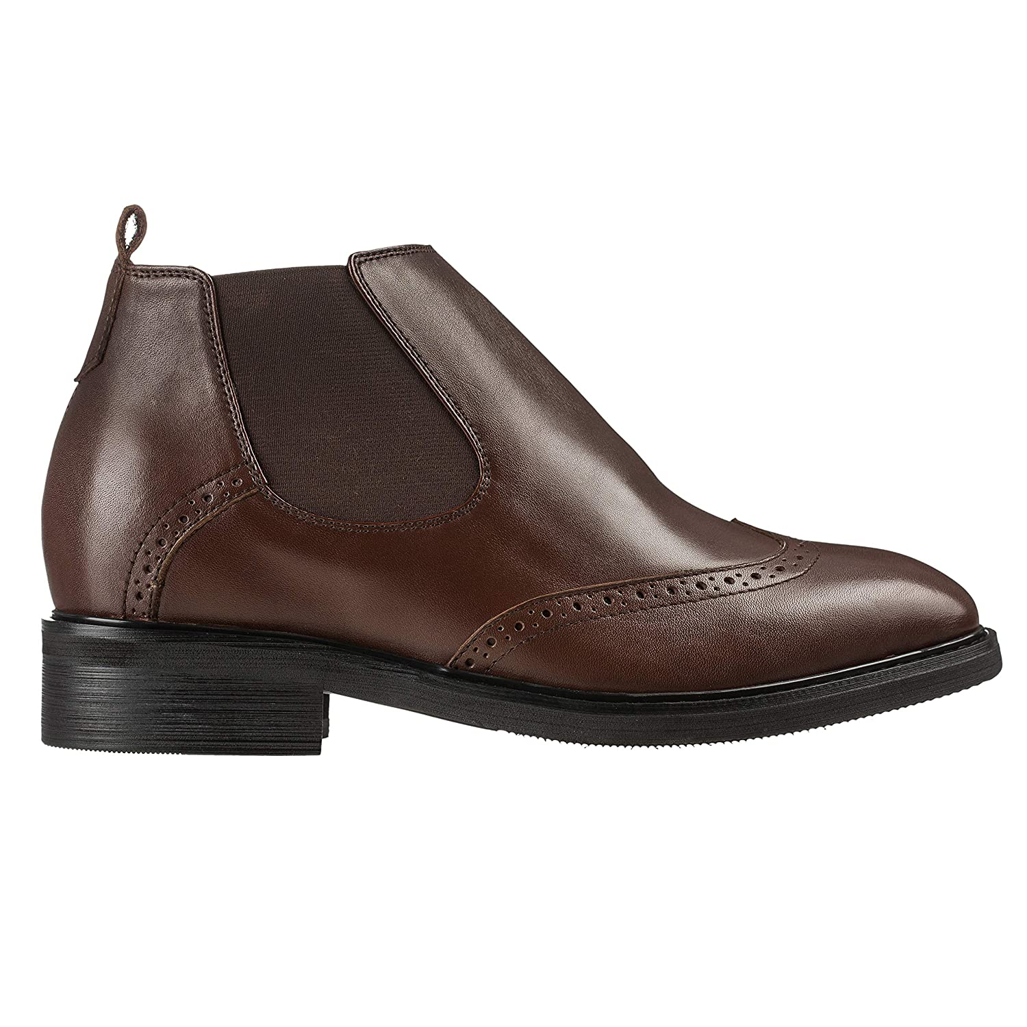 3 Inches Taller K288021 Calden Mens Invisible Height Increasing Elevator Shoes Dark Brown Leather Slip-on Wing-tip Chelsea Boots