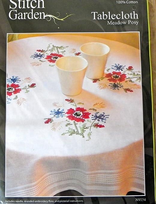 Cross Stitch Garden Tablecloth