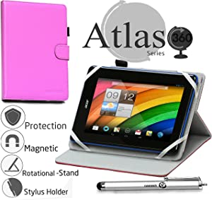 "Navitech 7"" Purple Case/Cover with 360 Rotational Stand & Stylus Pen Compatible with The Toshiba Encore Mini/Lenovo Tab S8-50 / Acer Iconia Tab 7 A1-713HD"