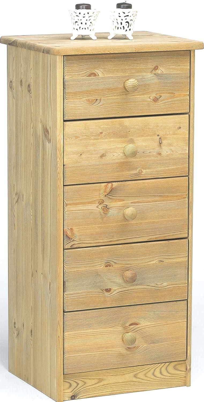 Steens Mario Kommode, 5 Schubladen, 41 x 89 x 34 cm (B H T), Kiefer massiv, gelaugt geölt