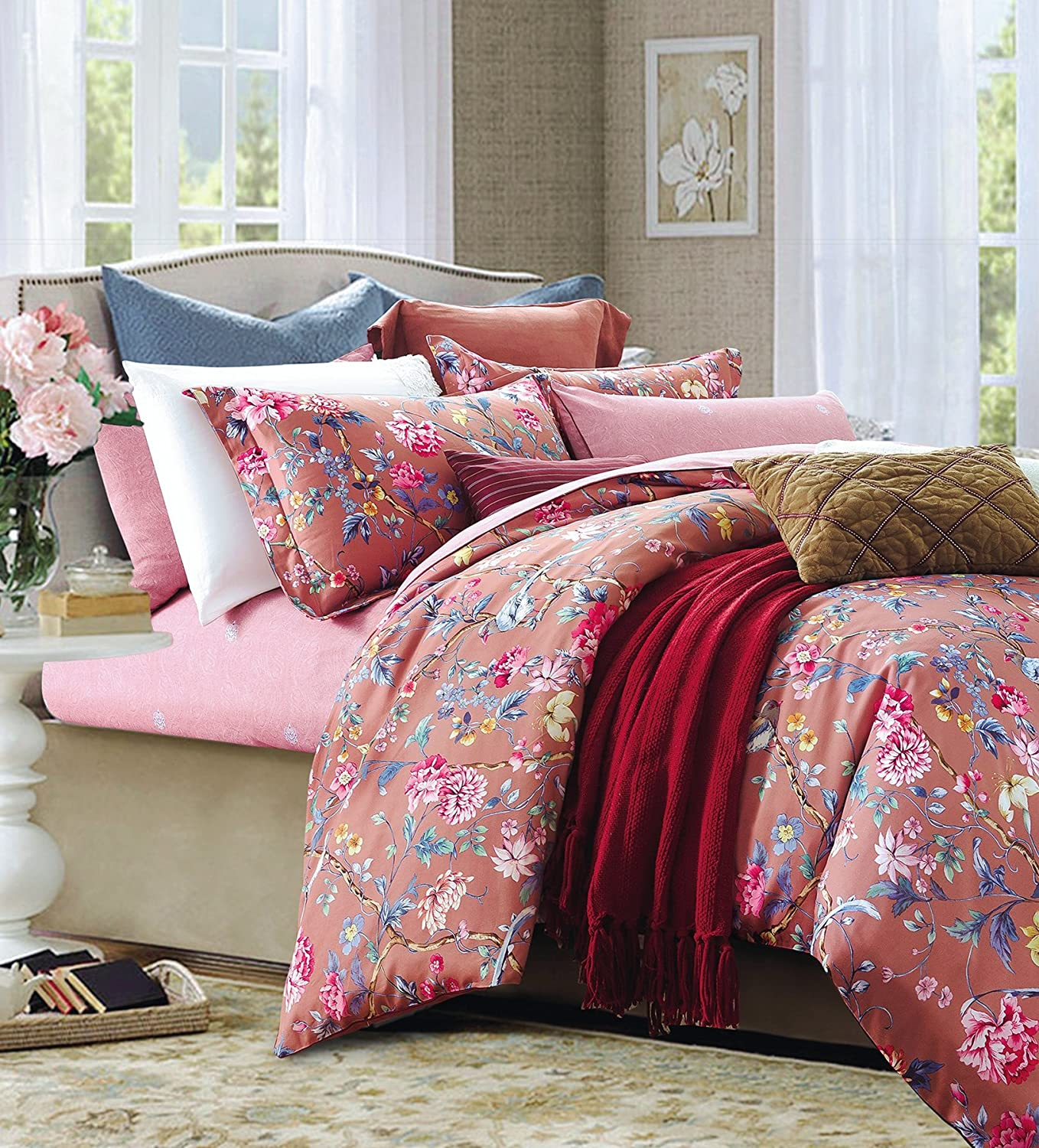 Bedding Set Asian Chinoiserie Print Colorful Tropical Tree Branches and Birds Floral Pattern