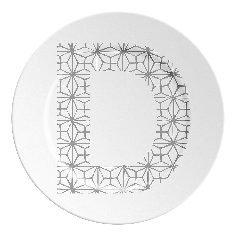 Ilaria.I ABC.D. Gr Plato con Letra, Porcelana, Gris, 16x 16x 1.5cm