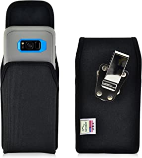 product image for Turtleback Belt Clip Case Made for Samsung Galaxy S8 Plus + with OB Defender case Black Vertical Holster Nylon Pouch with Heavy Duty Rotating Belt Clip Made in USA