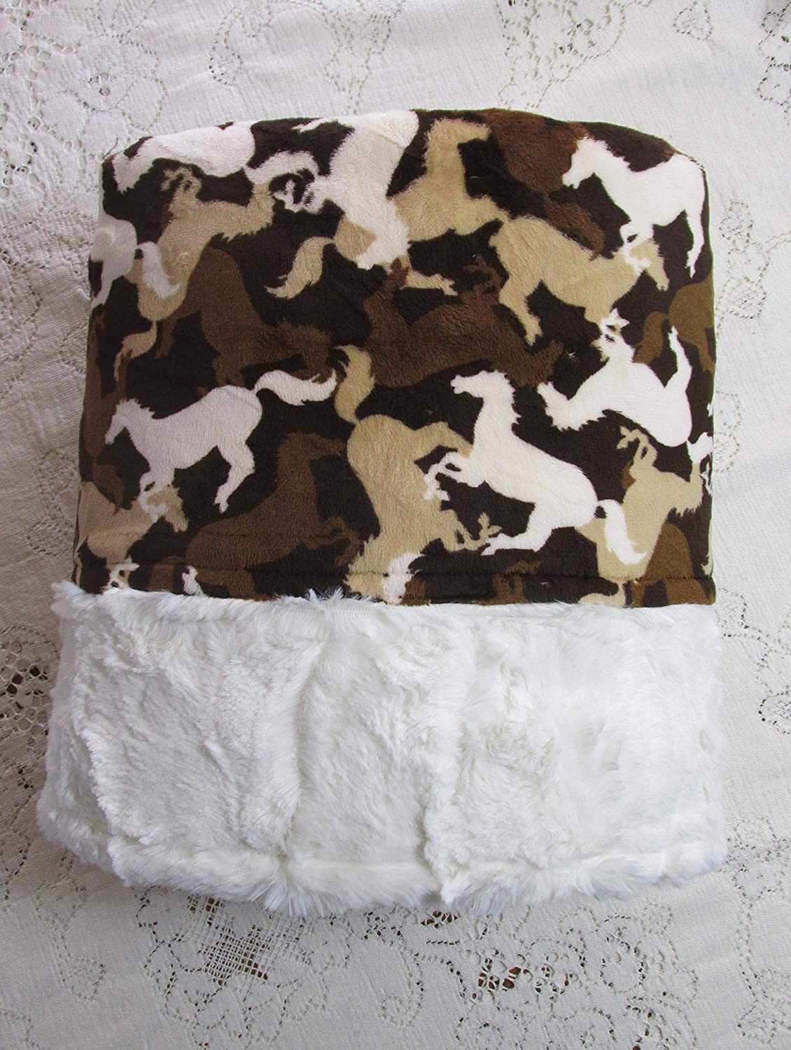 Luxe Brown /& Cream Wild Horses Throw Blanket 61 x 61 Ivory Crushed Minky Backing RTS