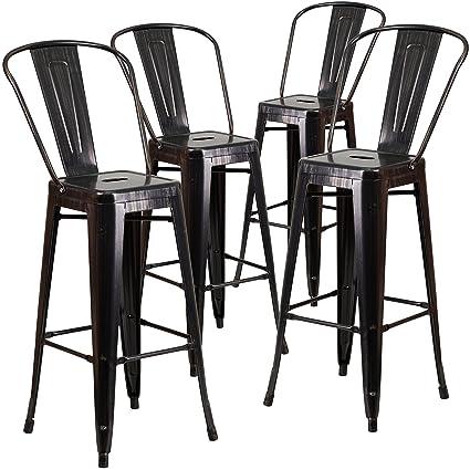 Exceptional Flash Furniture 4 Pk. 30u0027u0027 High Black Antique Gold Metal Indoor