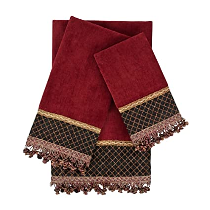 Amazon.com: Sherry Kline 3 Piece Arcadia Red Embellished Towel Set, Red: Home & Kitchen