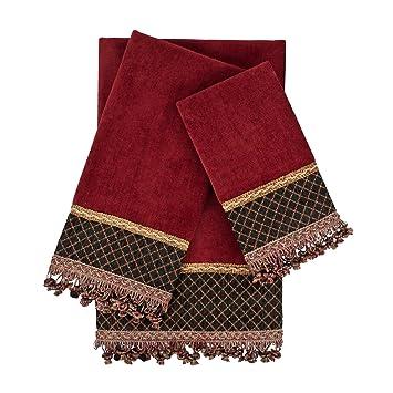 Sherry Kline Jerez Kline 3 piezas Arcadia rojo adornado - Juego de toallas, color rojo: Amazon.es: Hogar