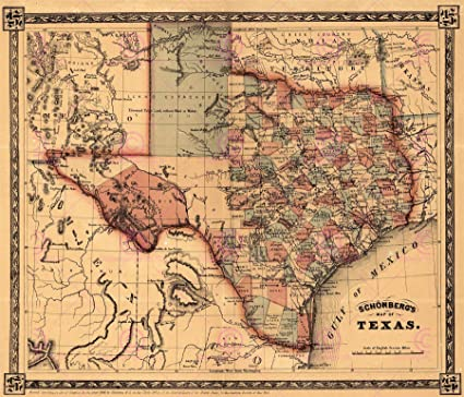 Large Map Of Texas.Doppelganger33ltd Map Schonberg 1866 Texas Historic Large Replica Poster Print Pam1199