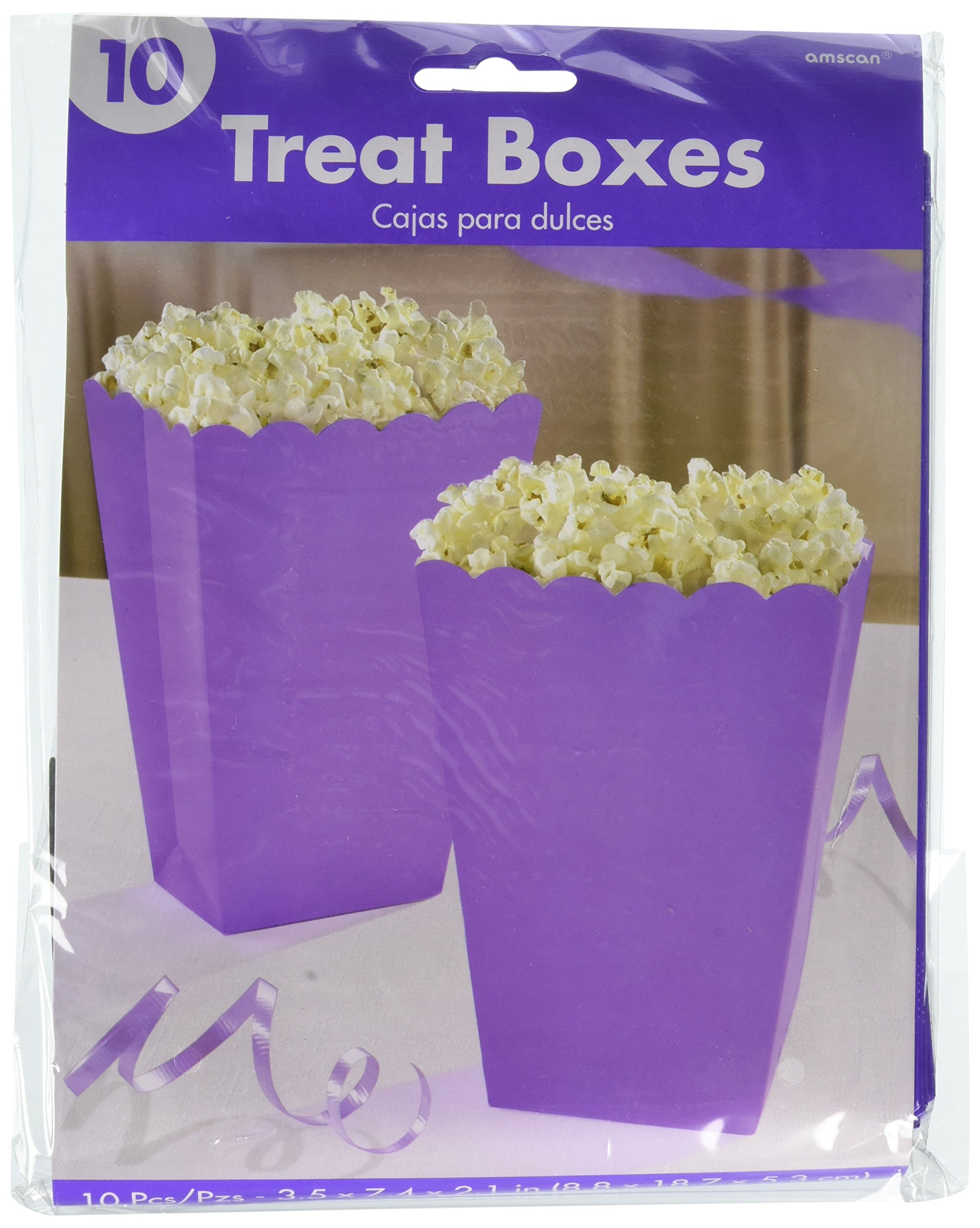 Amscan Popcorn Shaped Boxes, Large | New Purple