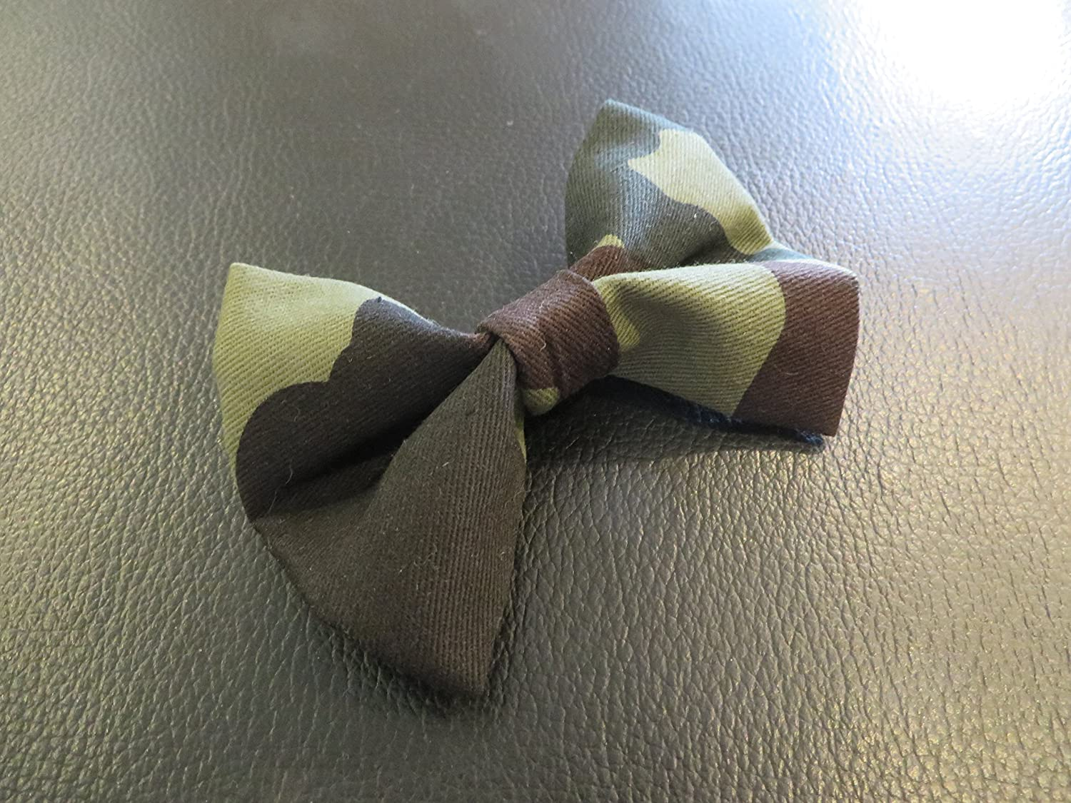 Dog Bow Tie in Green Camo Camouflage