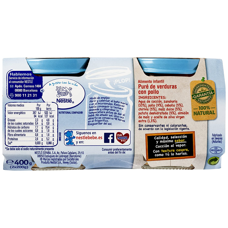 Nestlé Naturnes - Selección Puré De Verduritas con Pollo - A partir de 6 meses - 2 x 200 g: Amazon.es: Alimentación y bebidas