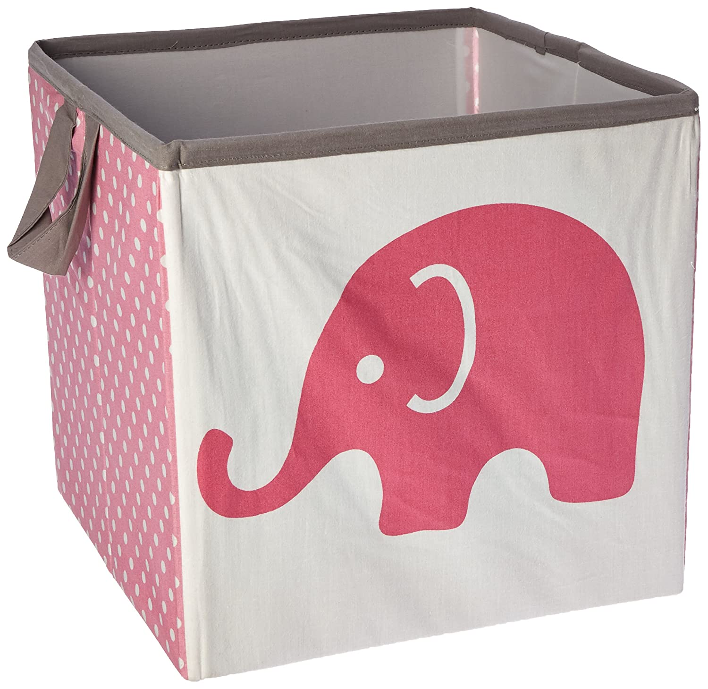 Bacati Elephants Storage Tote Basket, Pink/Grey, Small EPGSBS