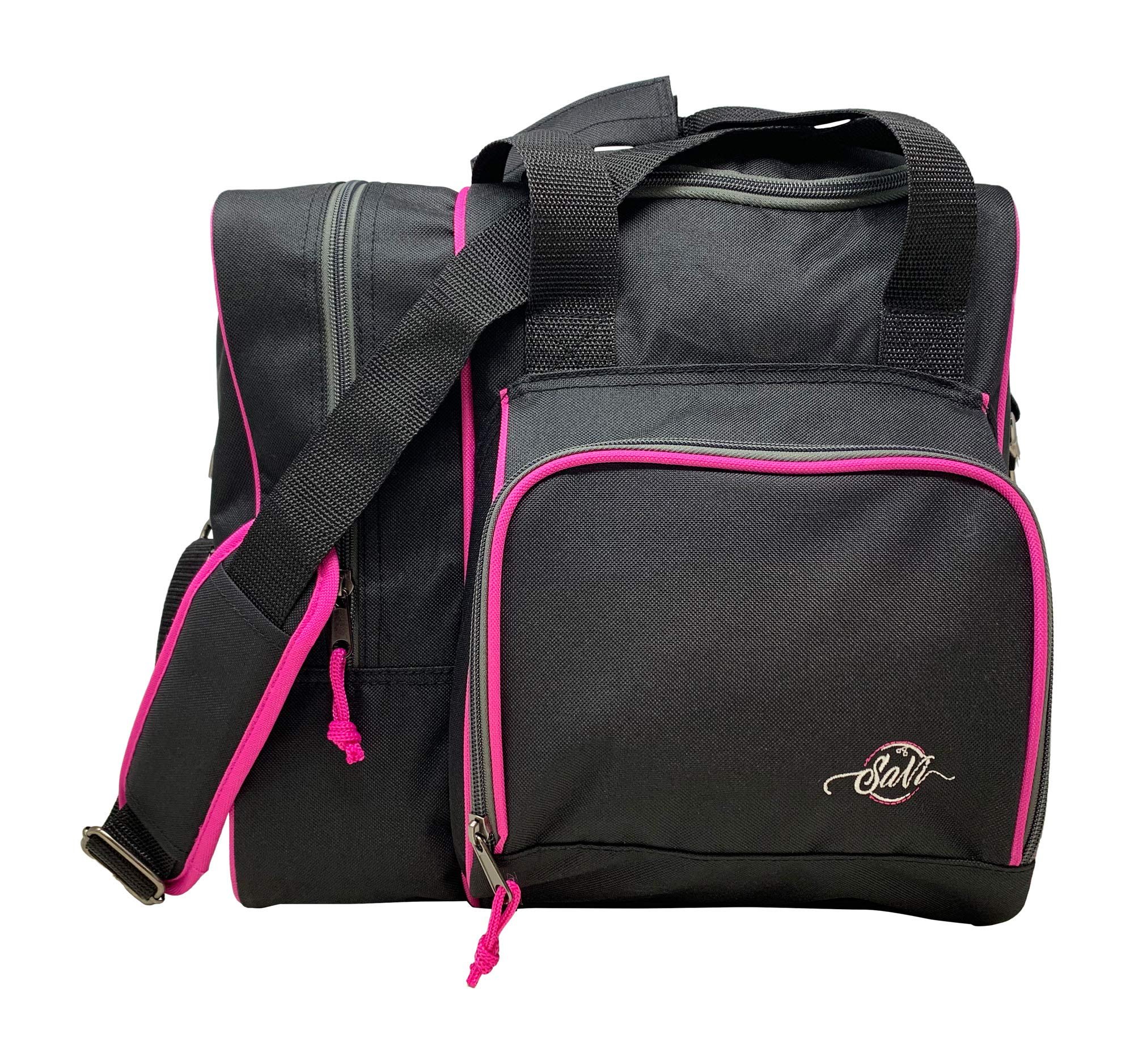 SaVi Single Deluxe Bowling Tote Bag Black/Pink Holds 1 Bowling Ball, 1 Pair of Bowling Shoes and A Front Accessory Pocket