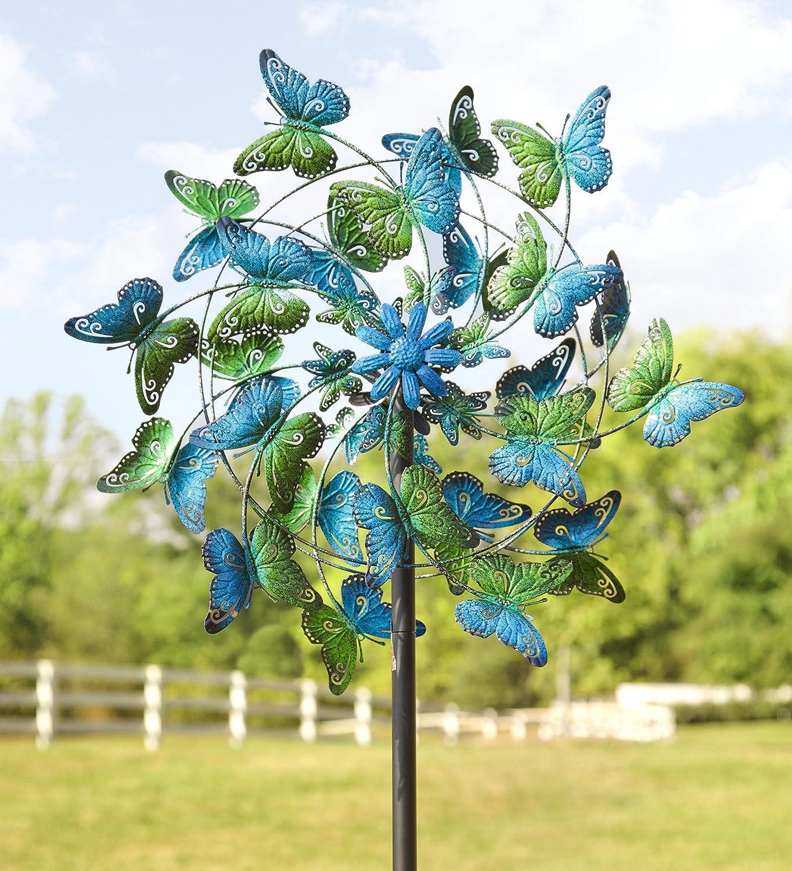 Blau und Grün Schmetterlinge Metall Wind Spinner: Amazon.de: Garten