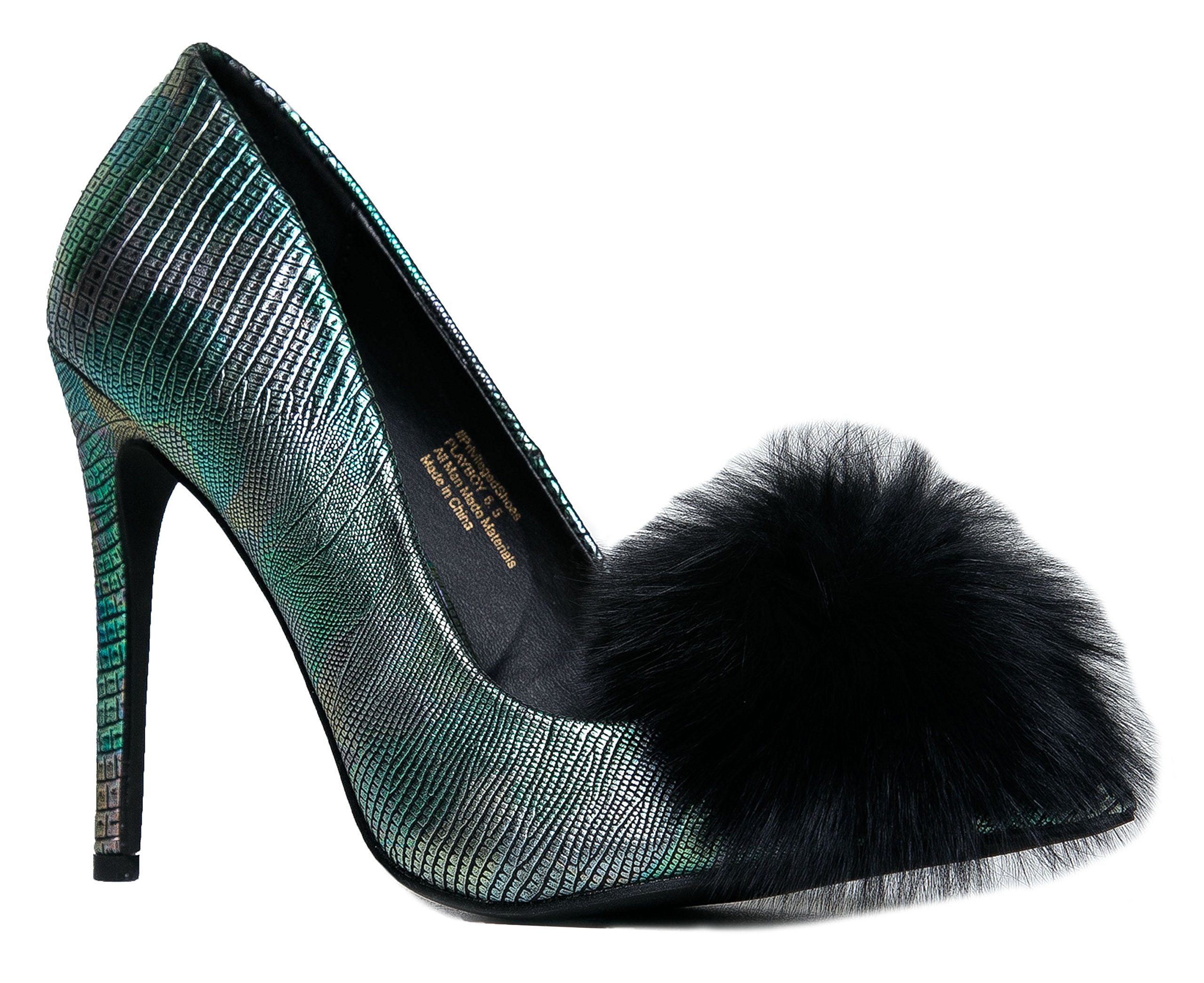 PRIVILEGED PLAYBOY Women's Pointed Toe High Heel Pump - Shimmer Metallic Faux Reptile Snake Pom Pom Fashion - Party Hot Sexy Event Shoe 6.5 by Privileged