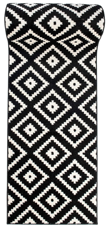 Läufer Teppich Brücke Teppichläufer - Orientalisches Marokkanische - Flur Modern Designer Muster Meterware - Casablanca Kollektion von Carpeto - Schwarz Weiß - 80 x 900 cm
