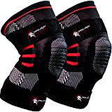 Dark Iron Fitness Knee Compression Sleeves for Weightlifting with Padded Support, 1 Pair