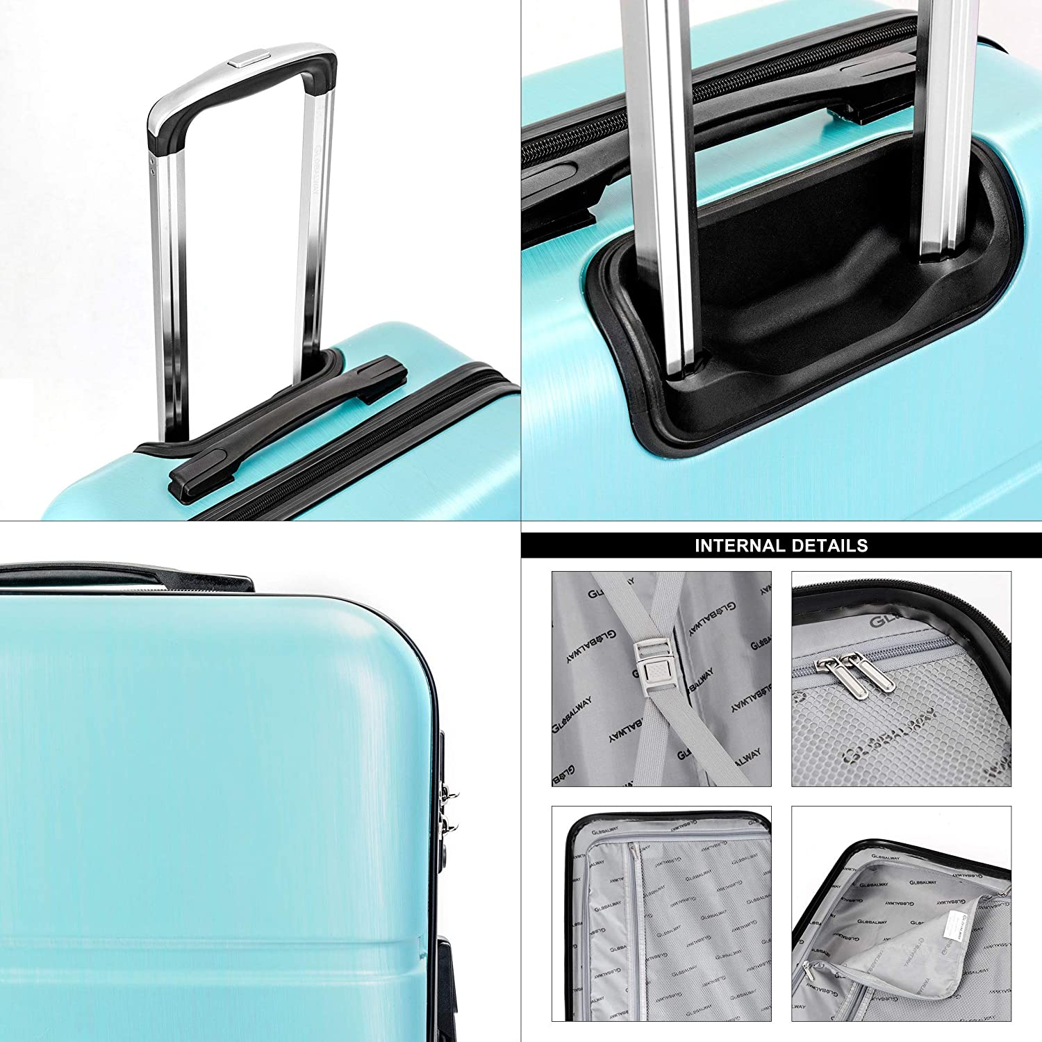 3Pc Luggage Set 20 24 28 Trolley Suitcase ABS+PC Spinner w//TSA Lock With Ebook