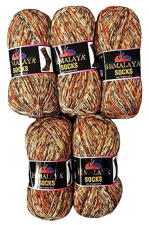 Ilkadim 5 x 100 Gramos Calcetines Lana Terracota marrón Beige 160 – 03, 500 Gramos