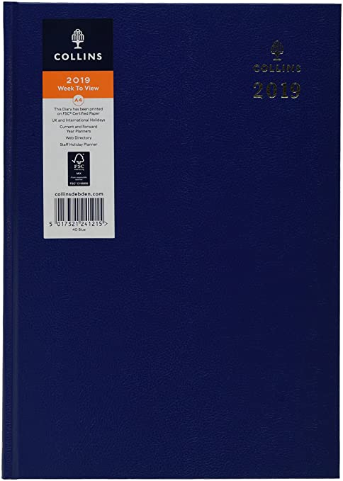 Collins40-Blue 2019 A4 2019 Desk Week to View Diary - Blue