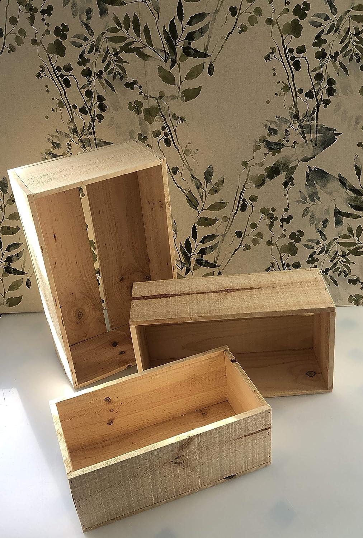 conjunto de 3 cajas de madera para decoración o almacenaje de ...