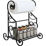 Freestanding Black Metal Kitchen & Bathroom Paper Towel Holder Stand / Counter Top Shelf Rack & Towel Bar