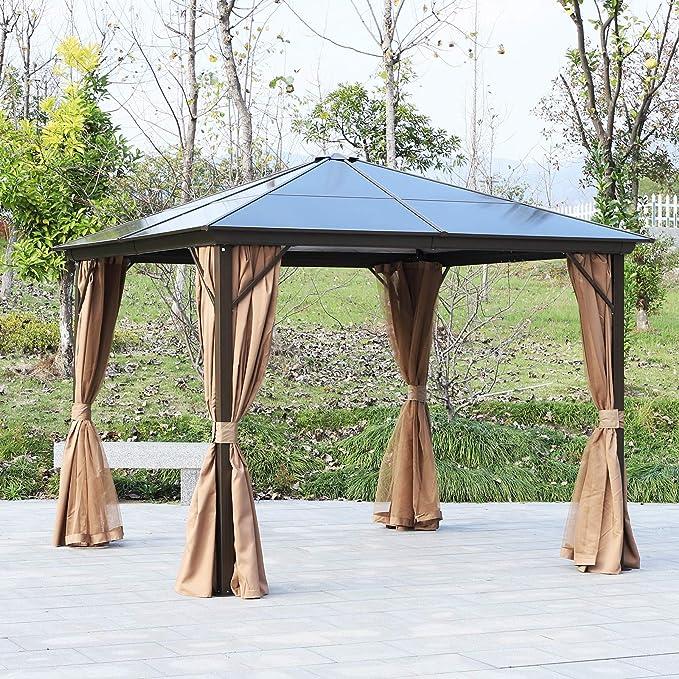 Outsunny - Cenador de jardín rígido, paneles de techo de ...