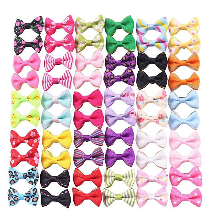 yagopet 40pcs//20pairs Small Dog Hair Bows Autumn Dog Bows Orange Dog Hair Bows Topknot Mix Designs Small Bowknot with Rubber Bands Pet Grooming Products Dog Hair Accessories