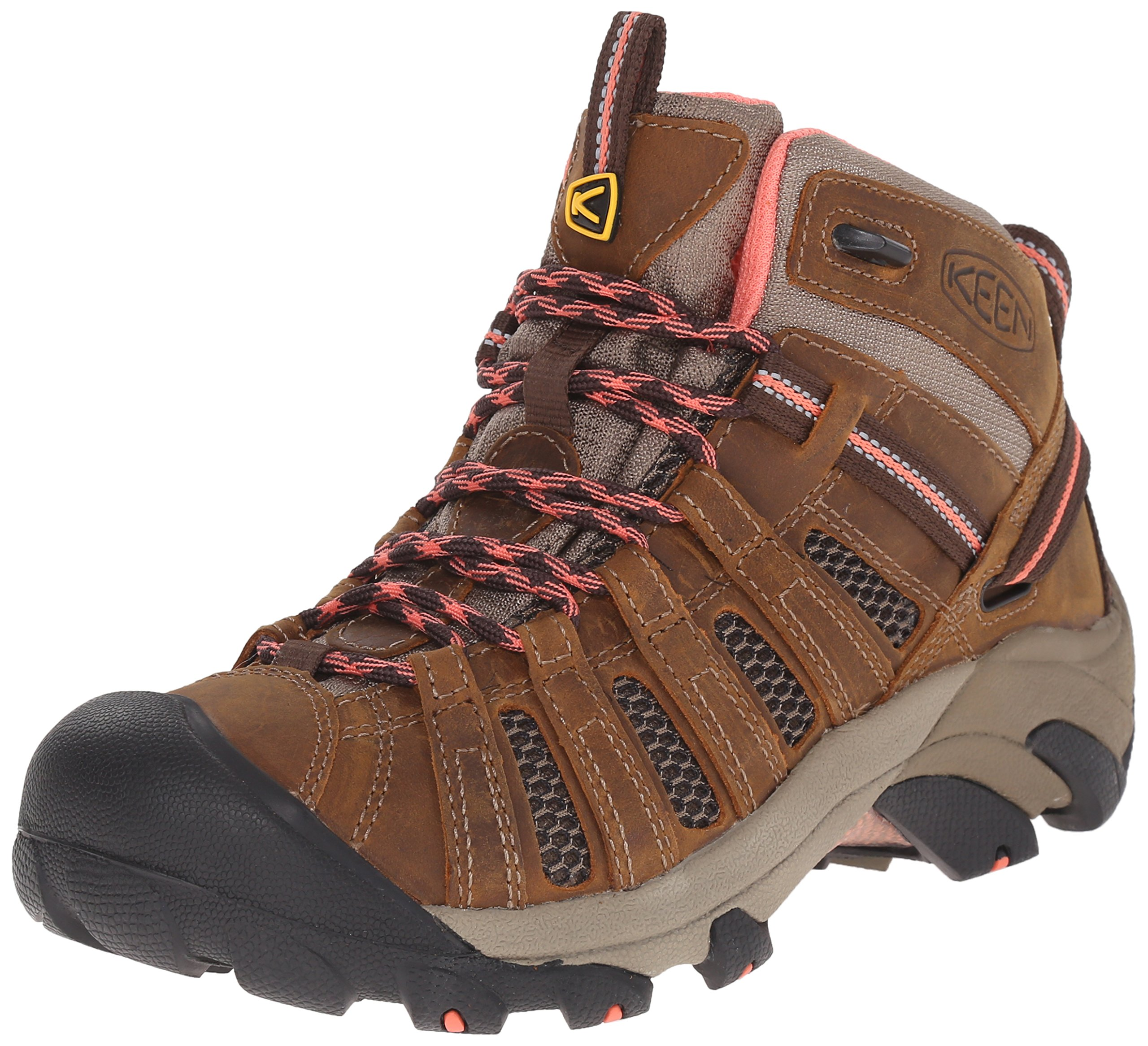 KEEN Women's Voyageur Mid Boot, Cascade Brown/Fusion Coral, 5 M US