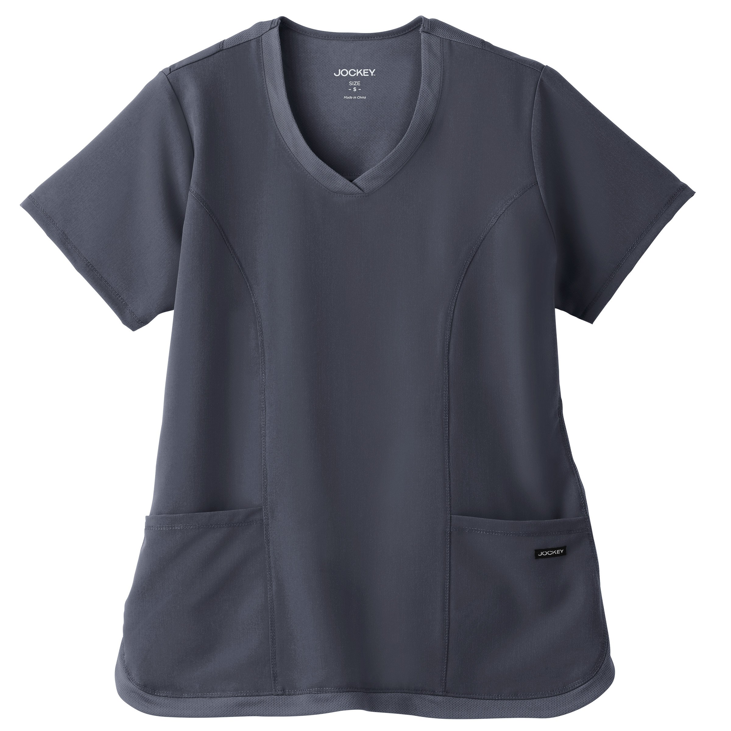 Jockey Women's 2401 Cool Mesh Shirttail 2 Pocket Top- Charcoal- Small