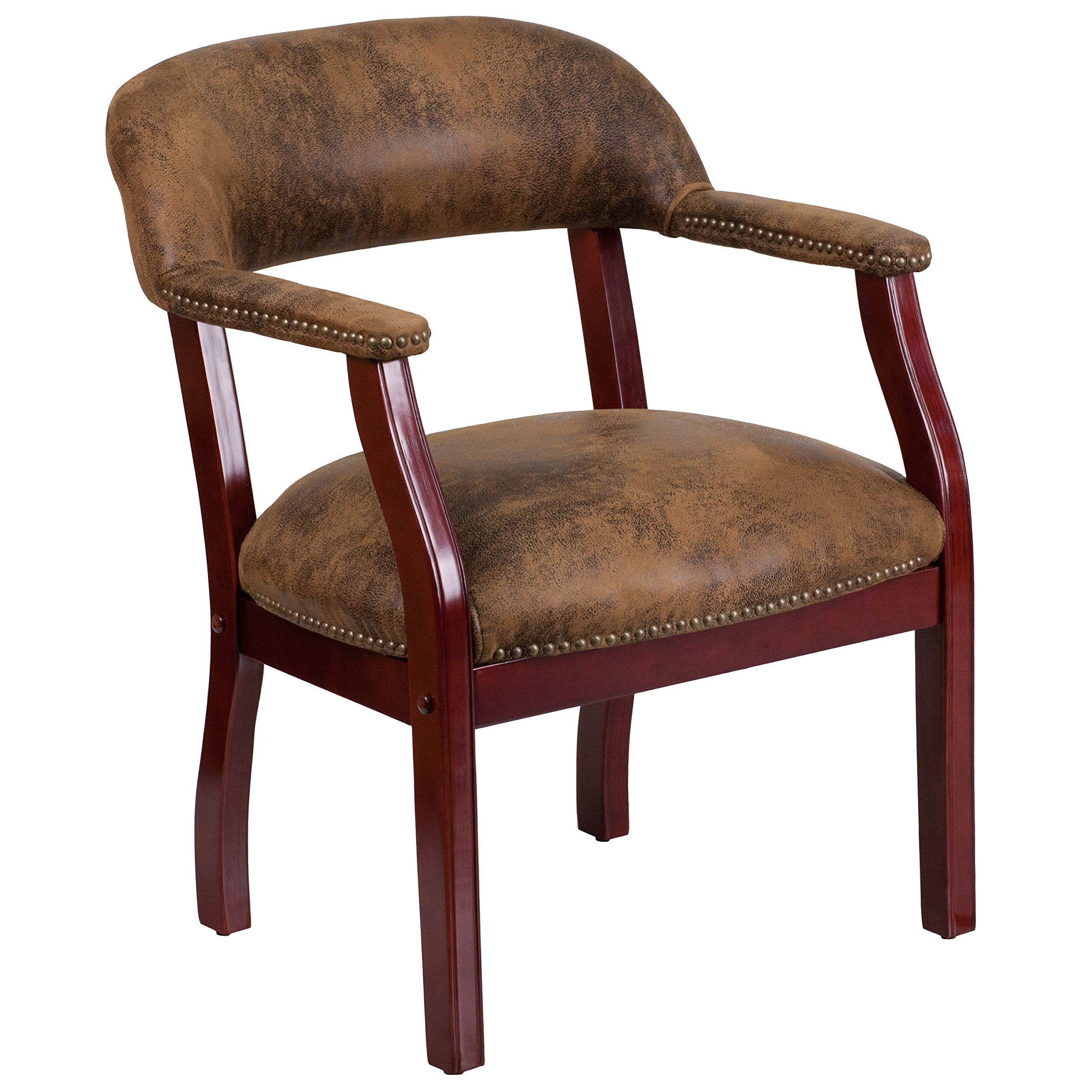 Flash Furniture Bomber Jacket Brown Luxurious Conference Chair with Accent Nail Trim by Flash Furniture