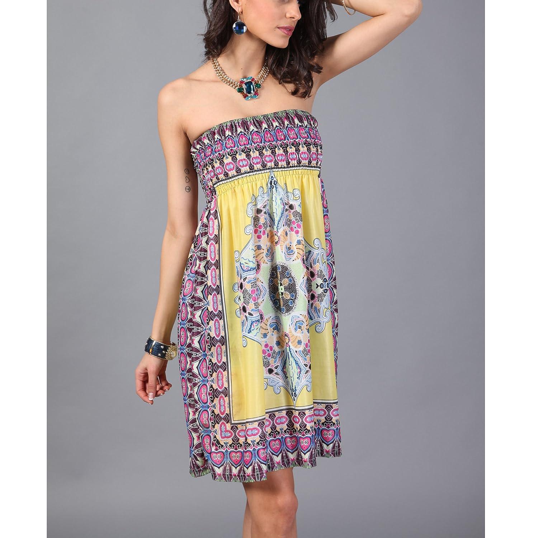 191606b084 OCTOPUSIR Women Sleeveless Strapless Beach Sundress 2018 Ladies Summer  Ethnic Bohemian Off Shoulder Floral Printed Bandeau Boobtube Casual Mini ...