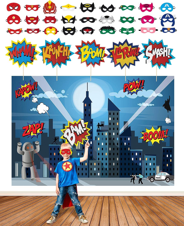 Superhero Party Supplies Kit with 7ft Superhero Backdrop, 28 Superhero Masks & 6 Superhero Photo Booth Props in a Comic Book Gift Box