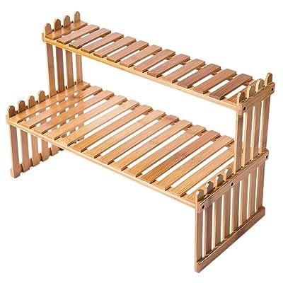 MyGift Tabletop Natural Bamboo Plant Stand, 2 Tier Desktop Shelf Rack : Garden & Outdoor