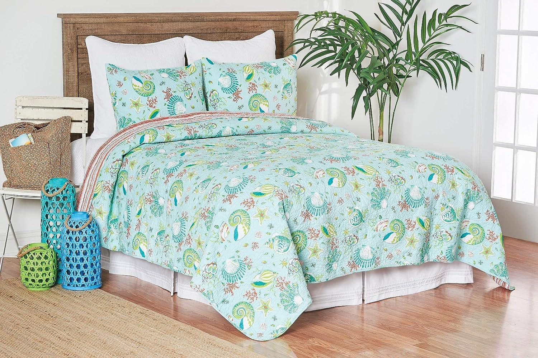 C&F Home Laguna Breeze 3 Piece Quilt Set All-Season Reversible Bedspread Oversized Bedding Coverlet, King Size, Blue