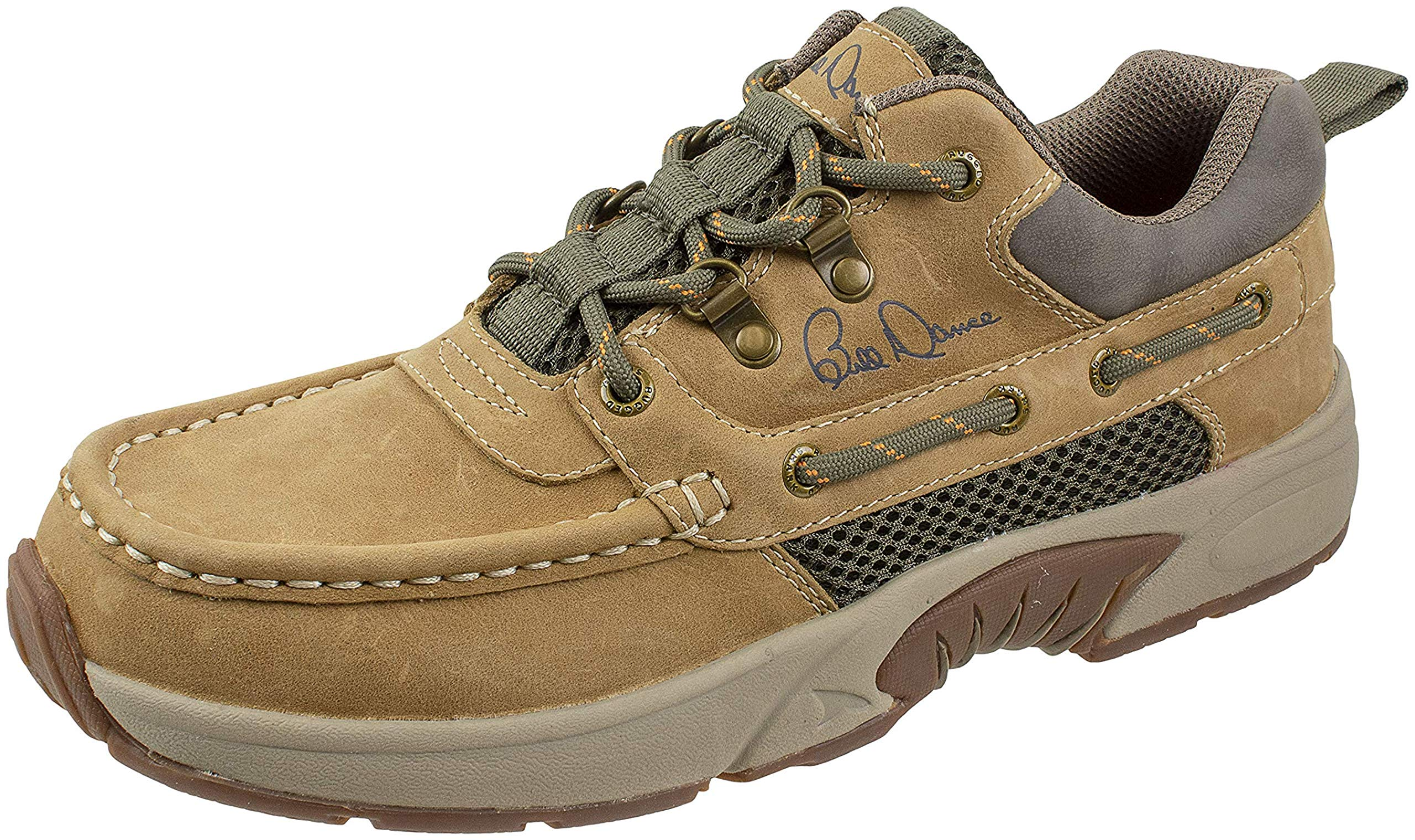 Rugged Shark Bill Dance Pro Boat Shoe, Premium Leather and Comfort, Fishing and Outdoor Shoe, Tan, Men's Size 10 by Rugged Shark