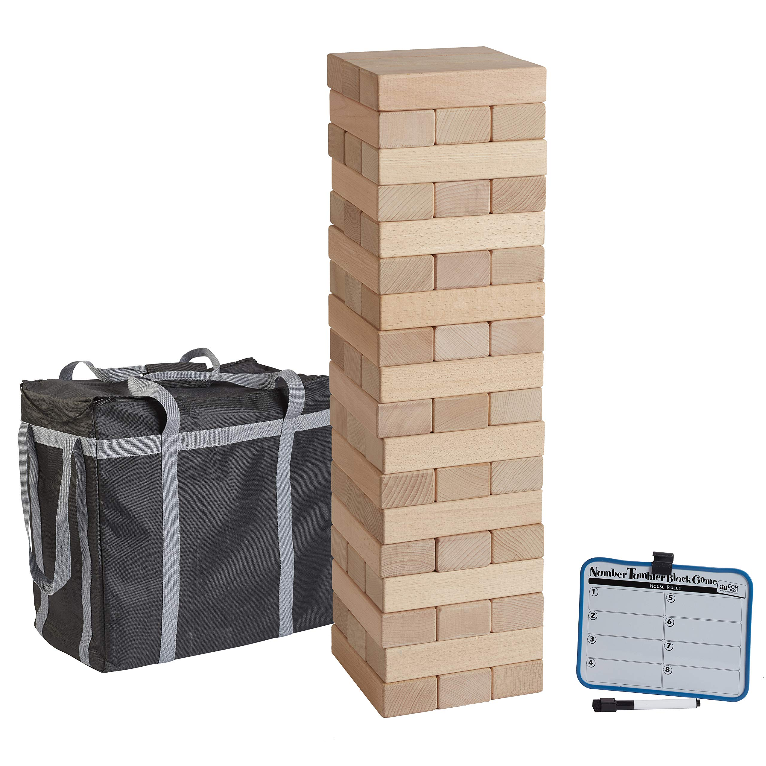 ECR4Kids Number Tumbler Giant Tumble Tower, Wood Stacking Block Game with Storage Bag and Dry-Erase Board for Bonus Rules, Just Right 20'' Tall (54-Piece Set)