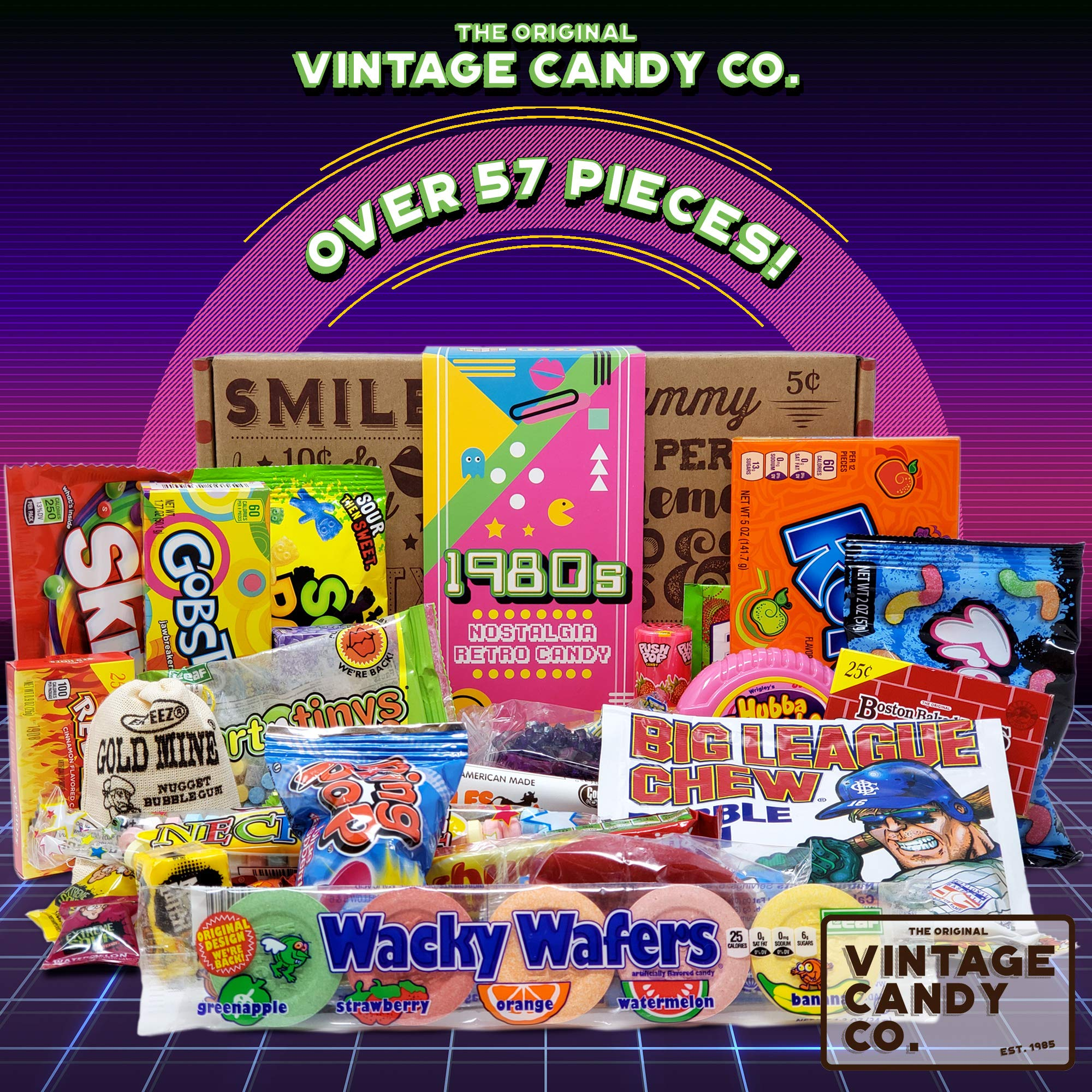 VINTAGE CANDY CO. 1980's RETRO CANDY GIFT BOX - 80s Nostalgia Candies - Flashback EIGHTIES Fun Gag Gift Basket - PERFECT '80s Candies For Adults, College Students, Men or Women, Kids, Teens by Vintage Candy Co. (Image #2)
