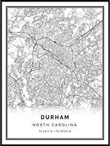 Squareious Durham map Poster Print | Modern Black and White Wall Art | Scandinavian Home Decor | North Carolina City Prints Artwork | Fine Art Posters 16x20
