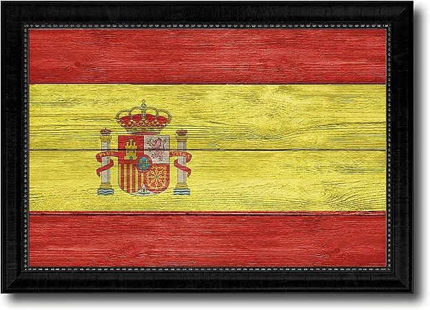 Textura de España Bandera Nacional País Diseño hecho a mano Artisan primitiva patriótica placa Shabby Chic de pared Arte decoración hogar oficina interior souvenir regalo Ideas: Amazon.es: Hogar