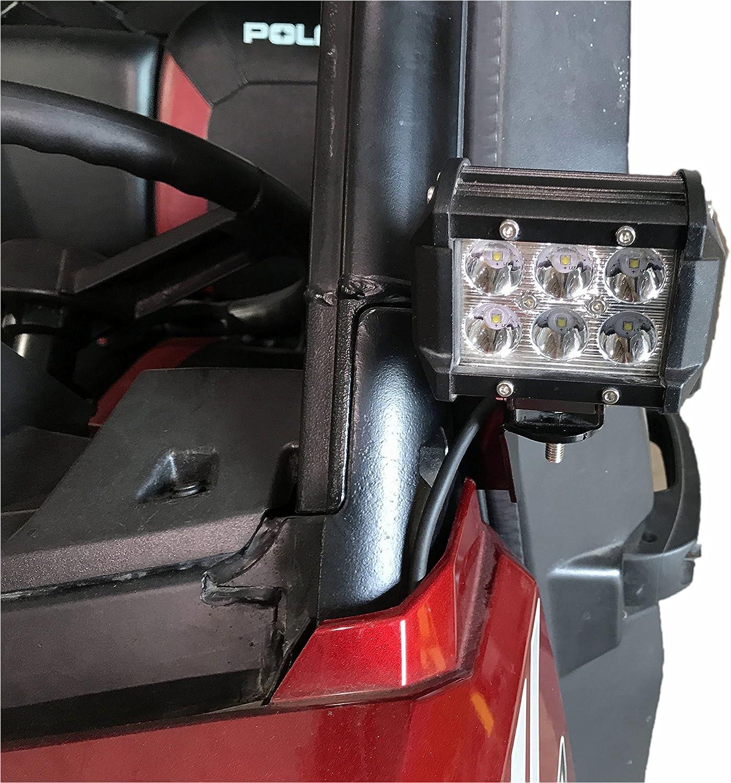 Polaris Ranger 900 1000 24W Work LED Light Pod Pro-Fit Cage A-Pillar Bracket Kit