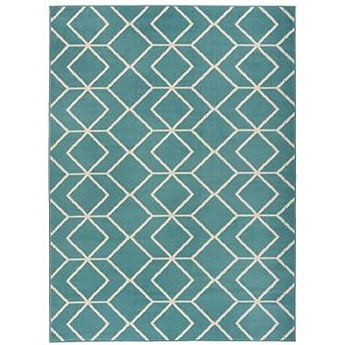 Antep Rugs Kashan King Collection Trellis Polypropylene Area Rug (Blue/Cream, 8' x 10')