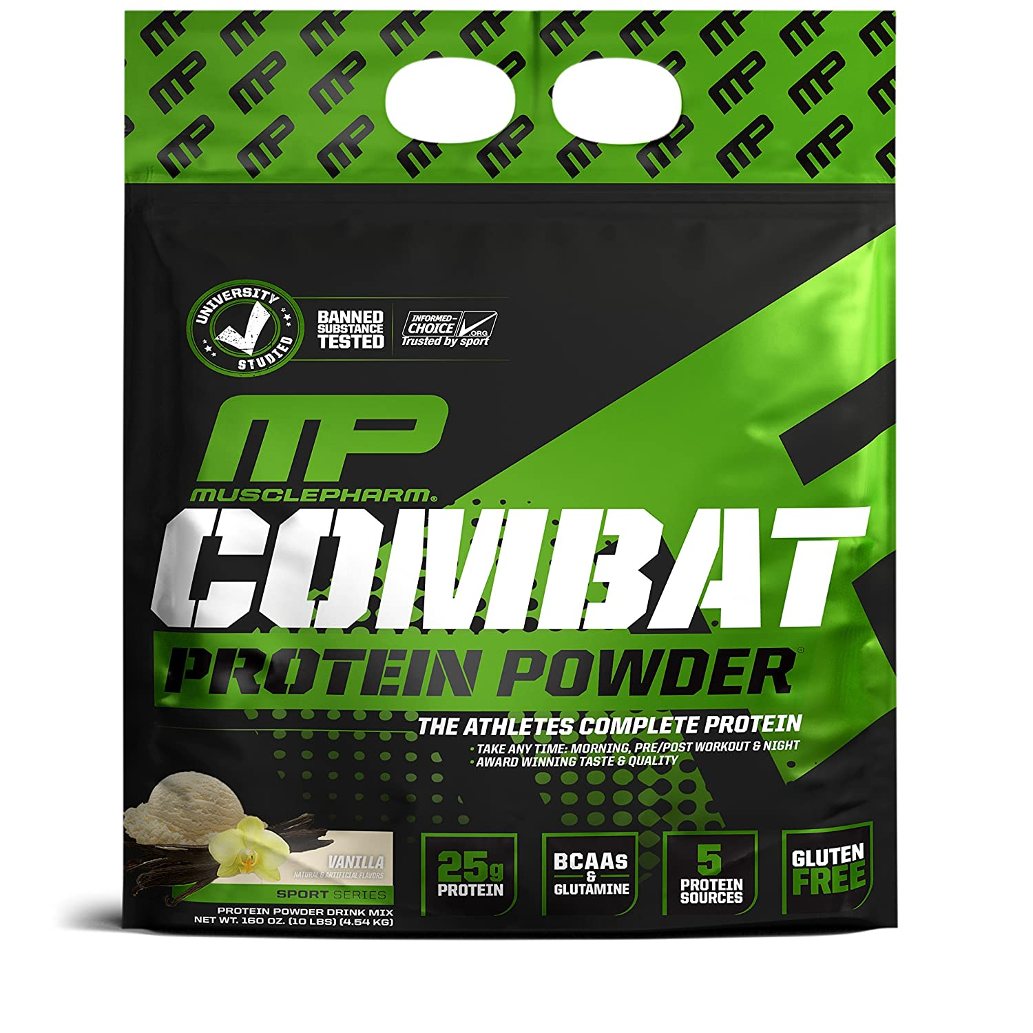 MusclePharm Combat Protein Powder, Essential Whey Protein Powder, Isolate Whey Protein, Casein and Egg Protein with BCAAs and Glutamine for Recovery, Vanilla, 10-Pound, 125 Servings