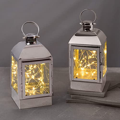 Decorative Lantern with Fairy Lights – Silver Metal, 8 Inch, Battery Operated, 30 Warm White LED Lights Inside, 6 Hour Timer, Home Decor or Wedding Table, Batteries Included – 2 Pack