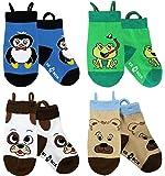 Calzini per bambini con volti di animale, punte senza cuciture, grip antiscivolo, calzini facili da tirare