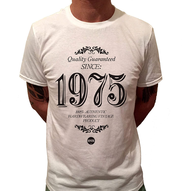 Kepster 40th Birthday T Shirt For Him Mens 1975 Gift Vintage Medium