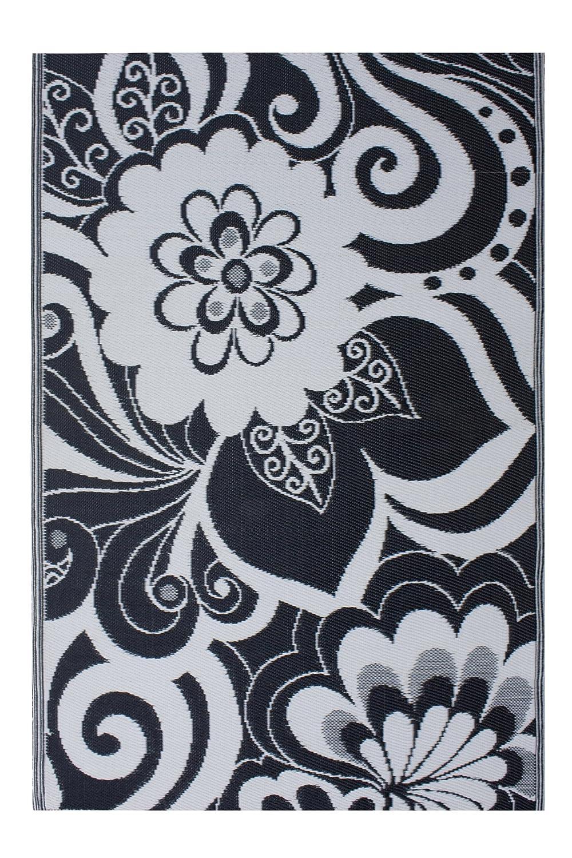Fab Hab - Maui - Schwarz & Creme - Teppich Matte für den Innen- und Außenbereich (120 cm x 180 cm)