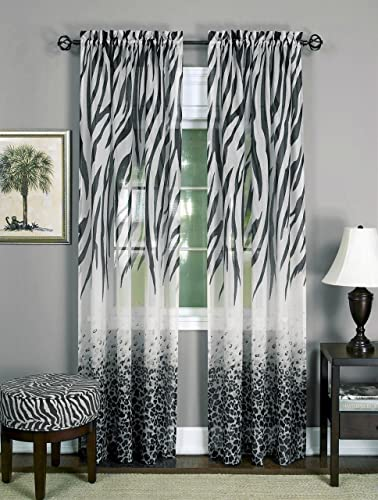 Brighter Room Savannah Collection Wild Safari Zebra and Leopard Print Set of 2 Sheer Panels in Black 50 x 84